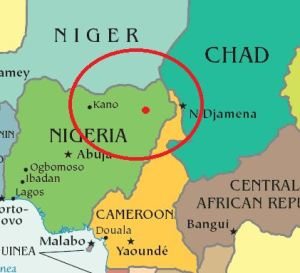 The relative area Boko Haram has been documented operating in. Their sharia law has been instituted in a few northern states in Nigeria. Their base of operations lies in the Northernmost parts of East Nigeria, extending into small pockets of Niger, Chad, and Cameroon.